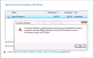 Как установить Windows 8 на диск с MBR